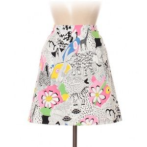 Melly M fun psychedelic skirt, daisy zebra fish